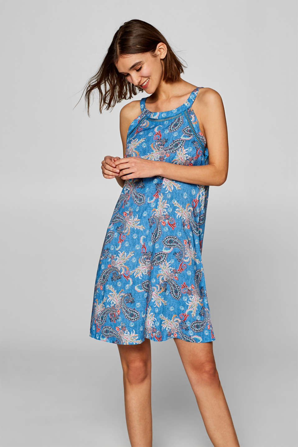 Esprit - Paisley dress with open-work trims