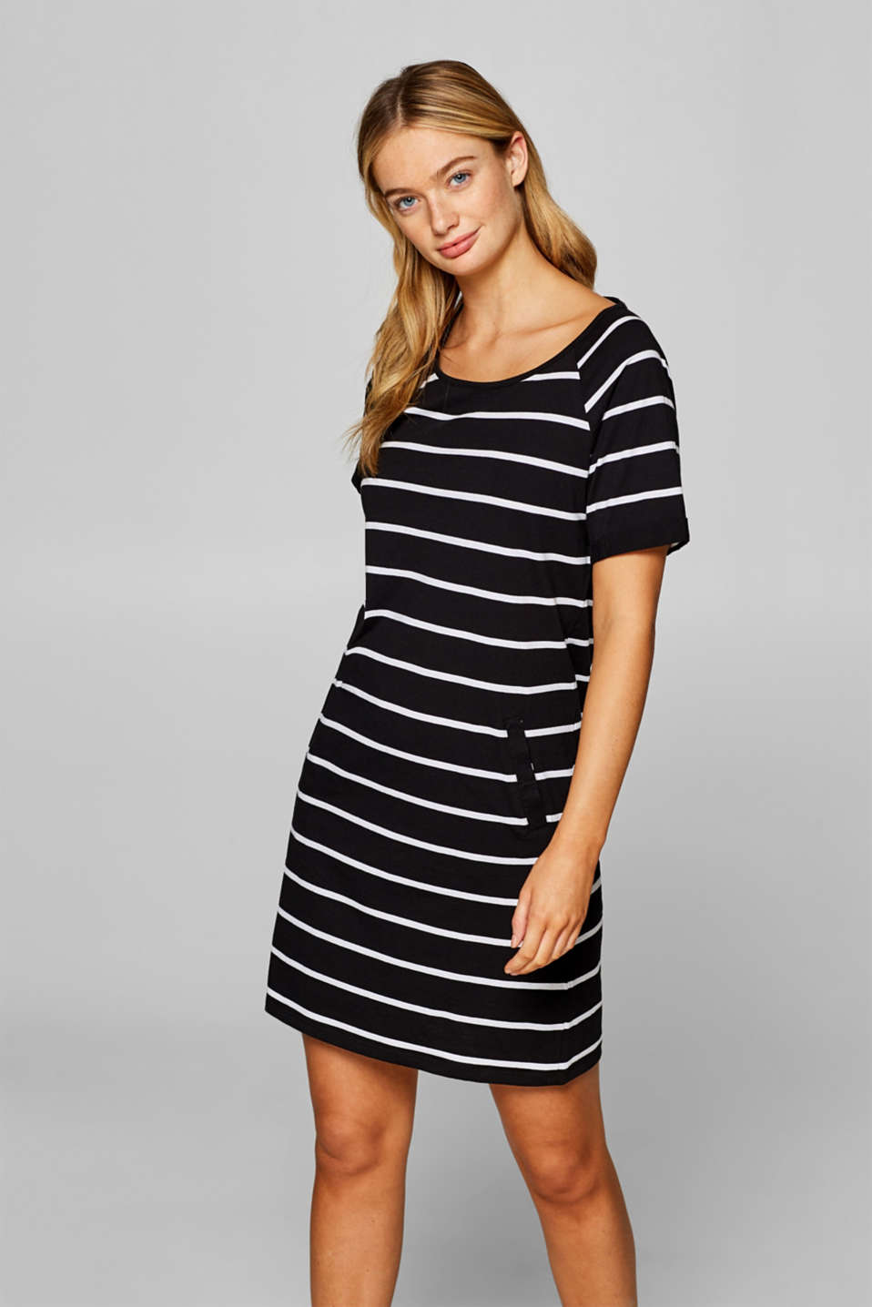 Esprit - Jersey dress with stripes, 100% cotton
