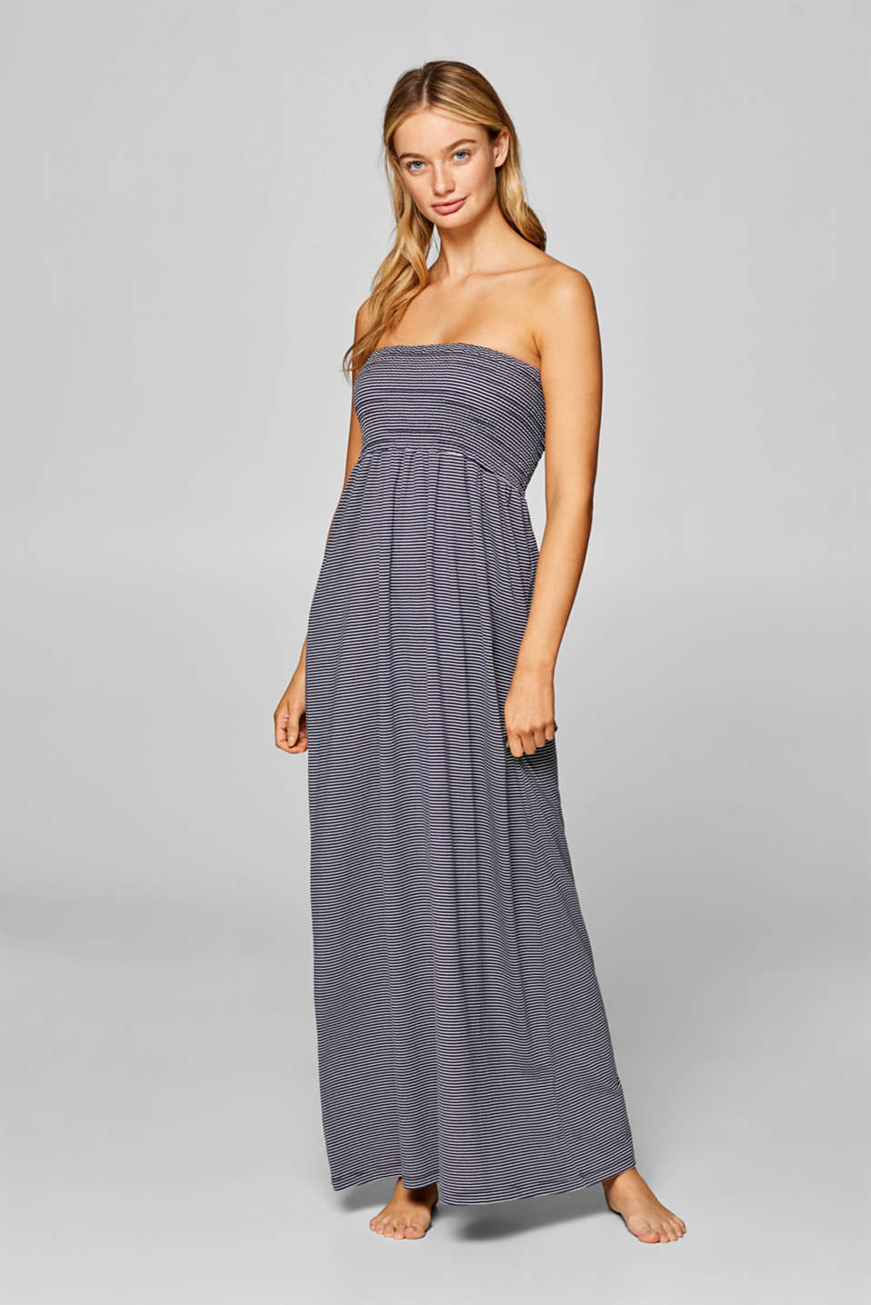 Esprit - Maxi dress with stripes, 100% cotton