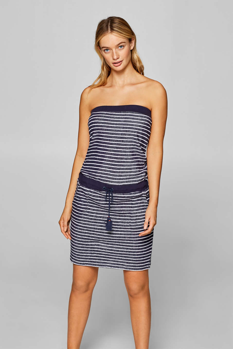Esprit - Terrycloth dress with stripes, 100% cotton