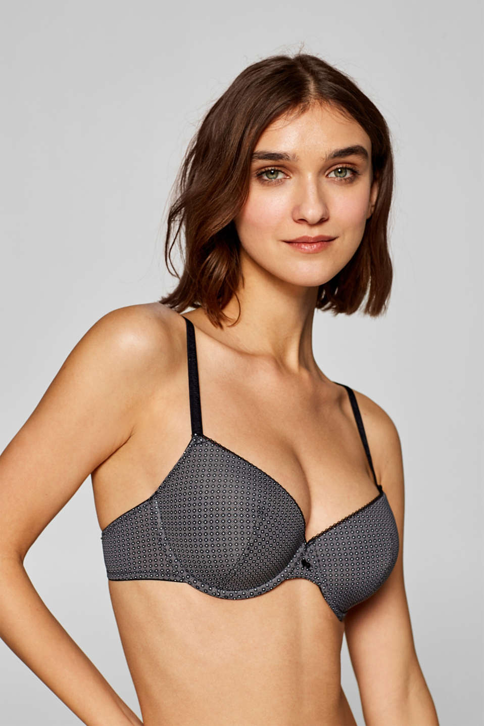 Esprit - Padded underwire bra with a two-tone print