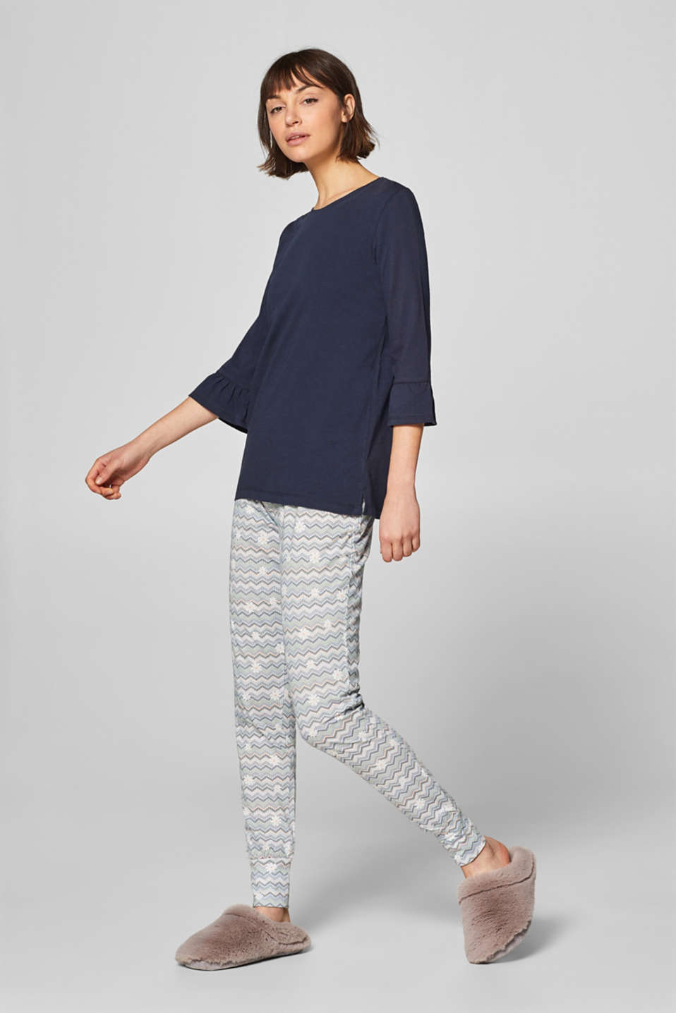 Esprit - Jersey pyjamas with a print and flounces
