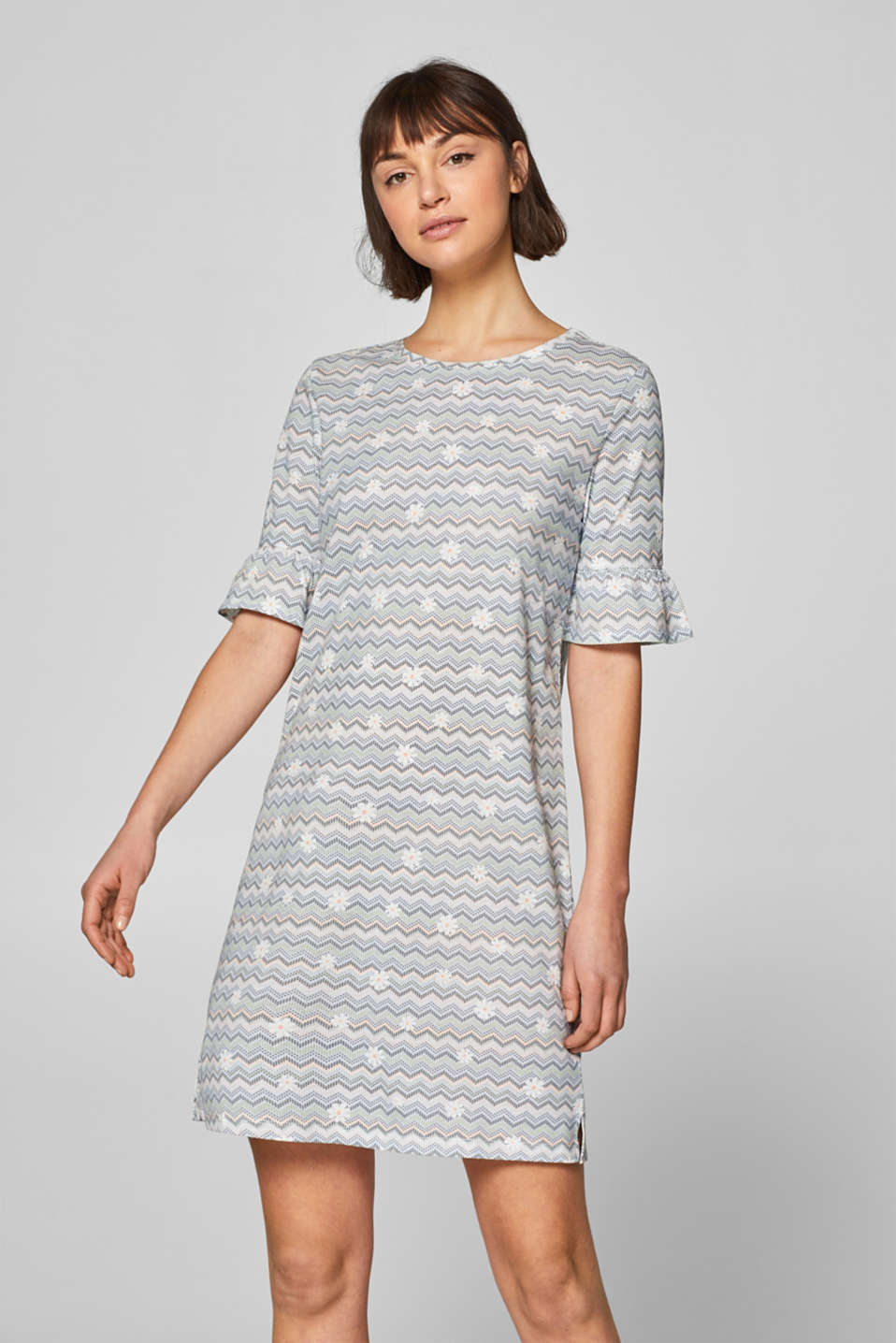Jersey nightshirt with print and flounces