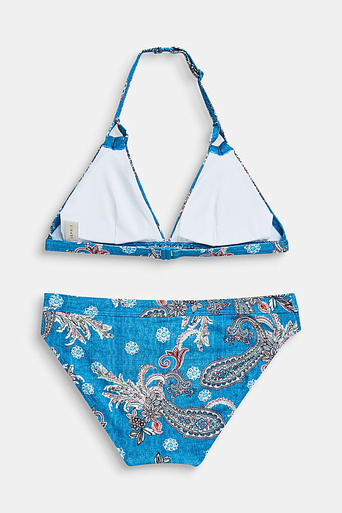 Neckholder-Bikini-Set mit Paisley-Print, DARK BLUE, detail image number 1