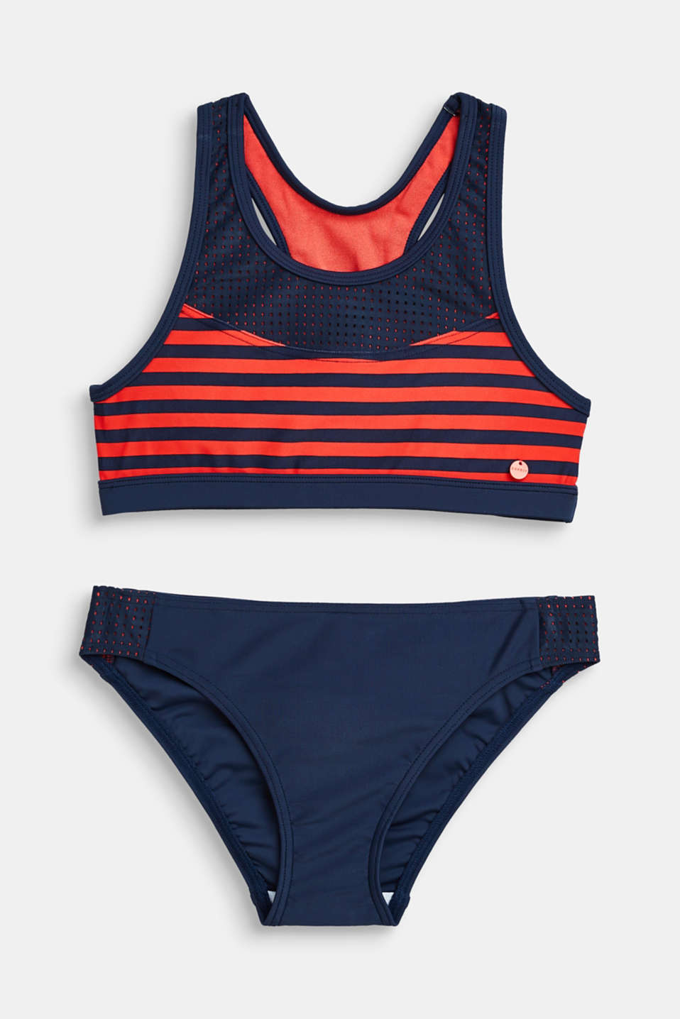 Esprit - Crop top bikini set with stripes