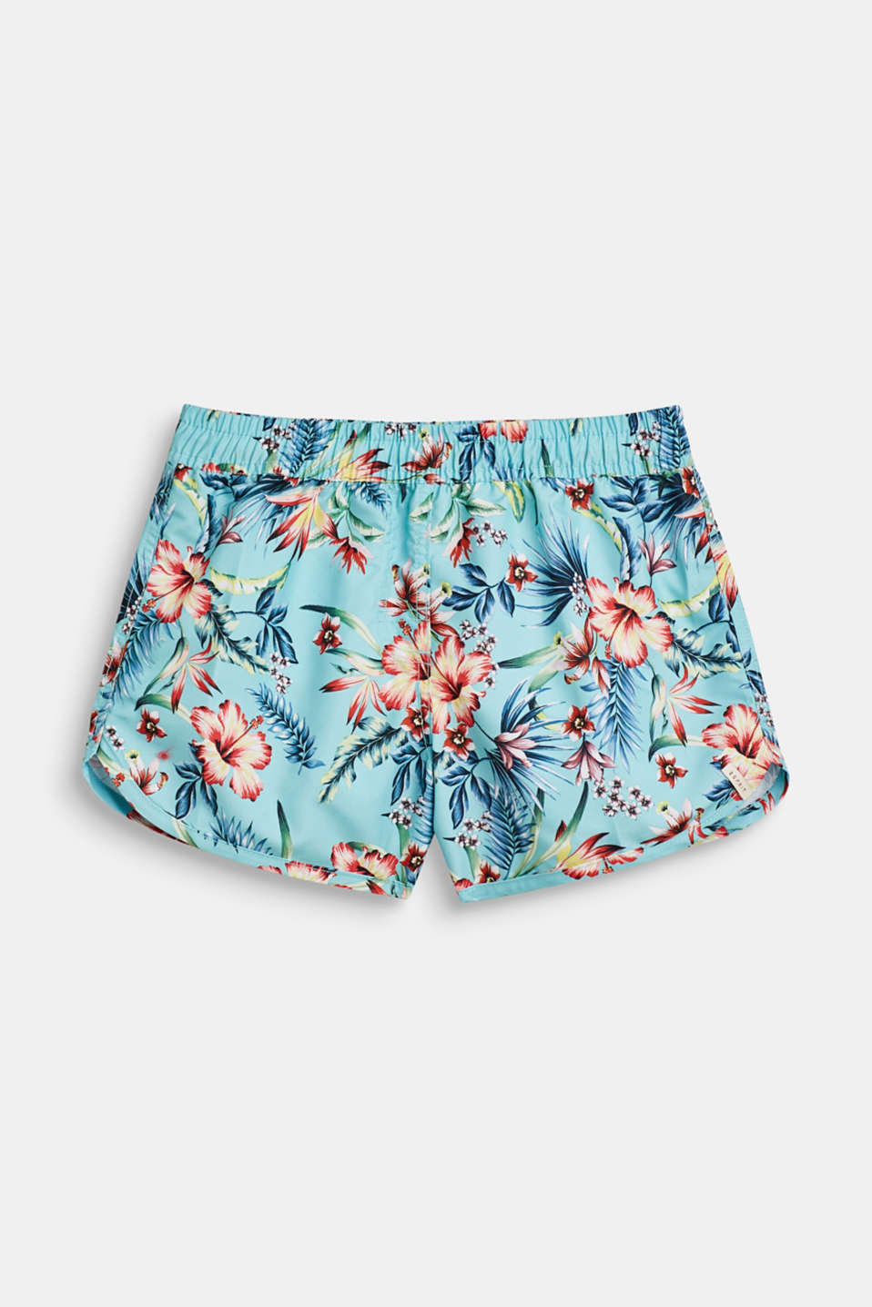 Swim trunks with a floral print, TURQUOISE, detail image number 0