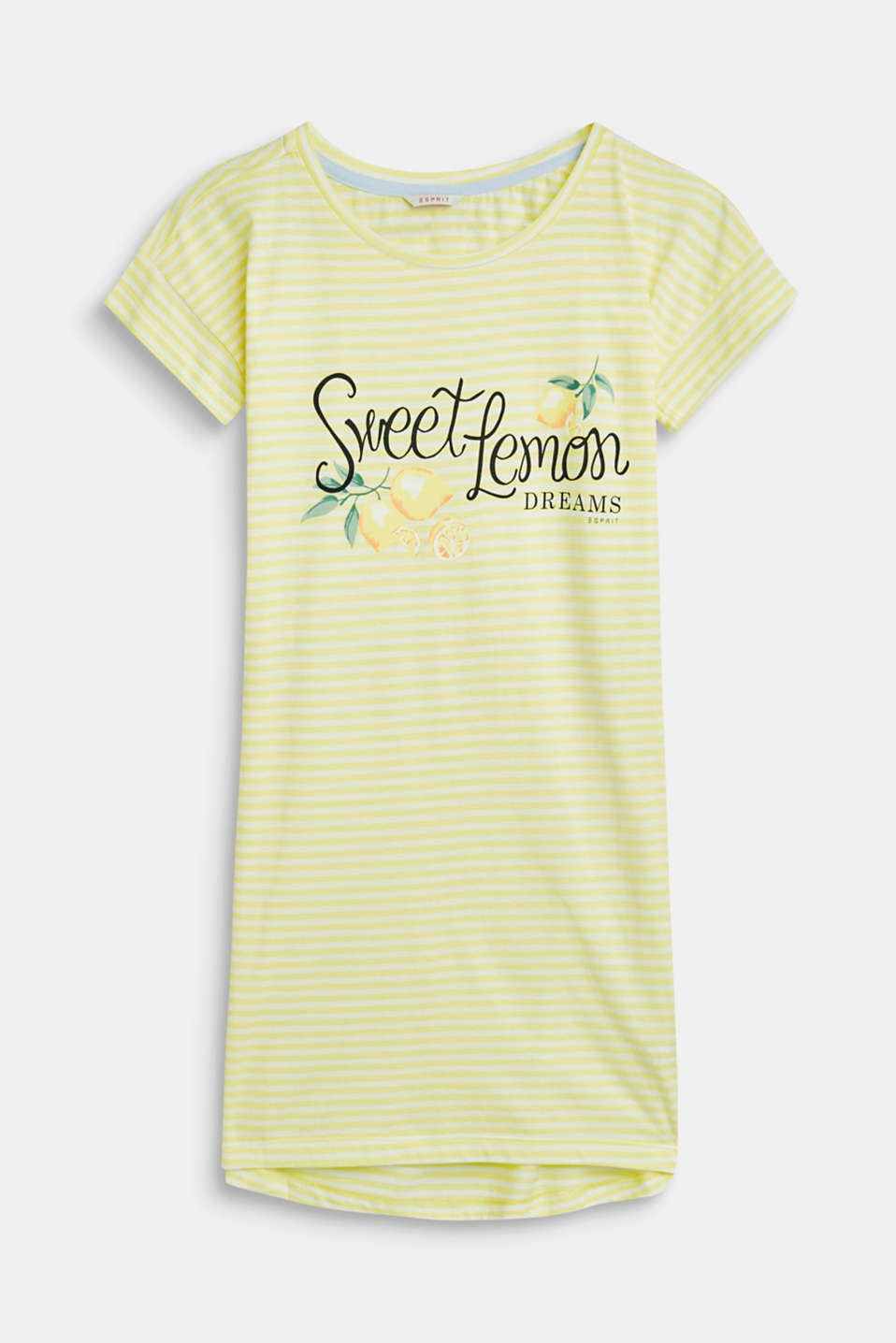 Esprit - Striped nightshirt with a print, 100% cotton