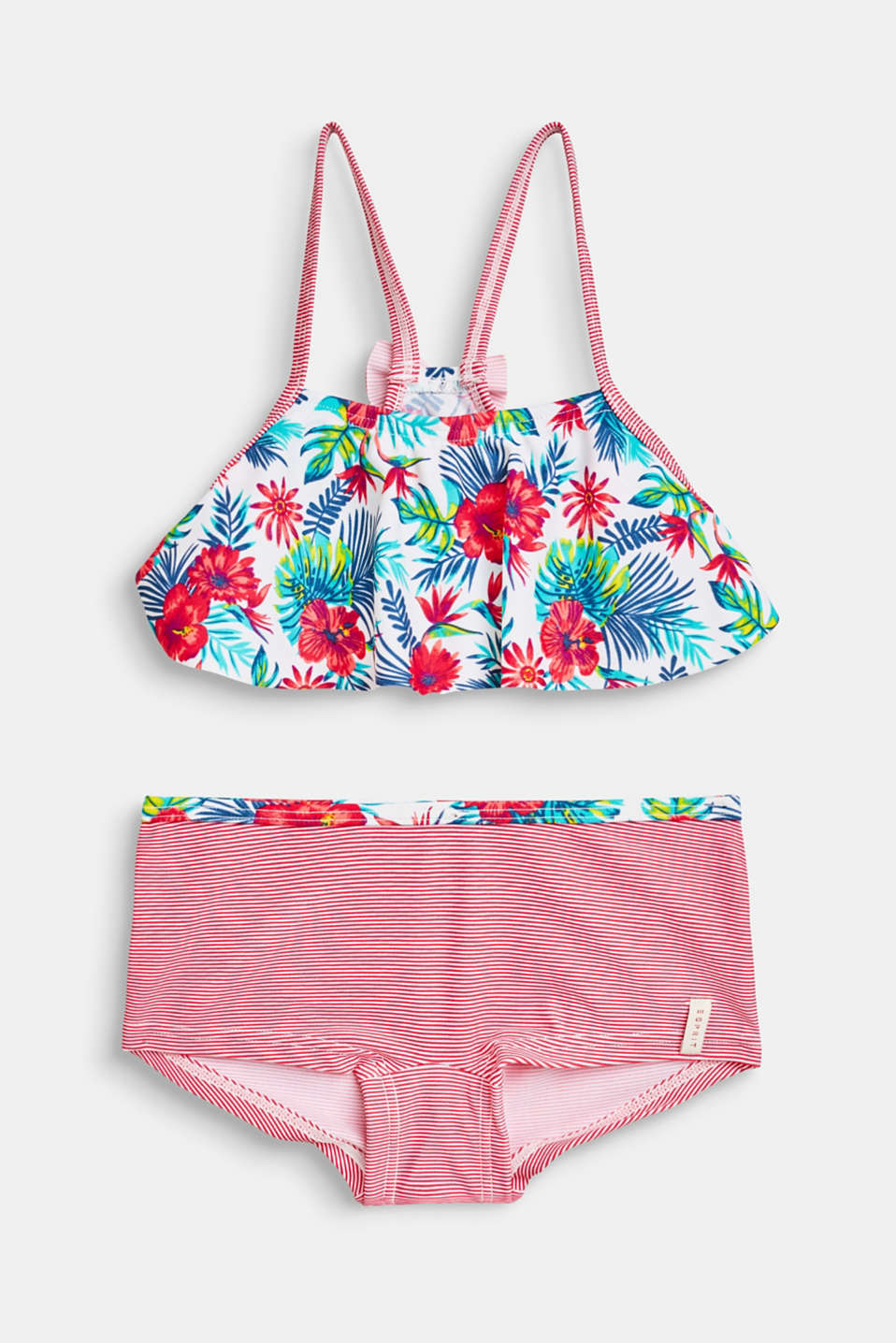 Esprit - Bikini set with a floral and striped print