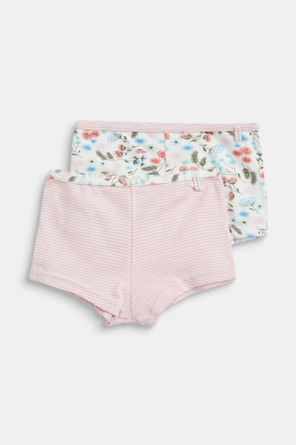 Esprit - Double pack of hot pants with stripes and flowers