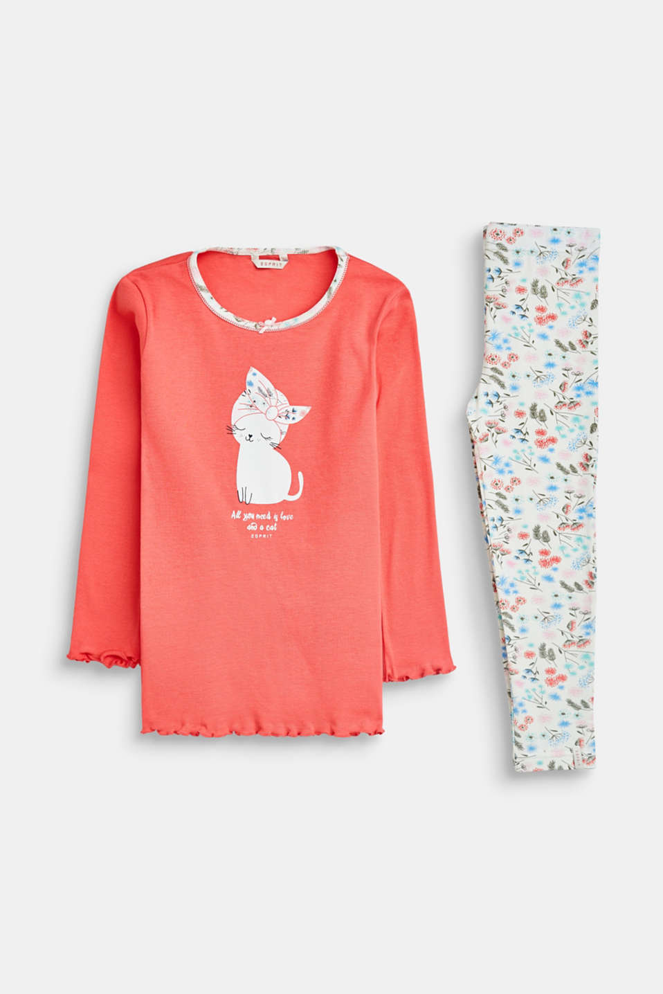 Esprit - Jersey pyjamas with cat print
