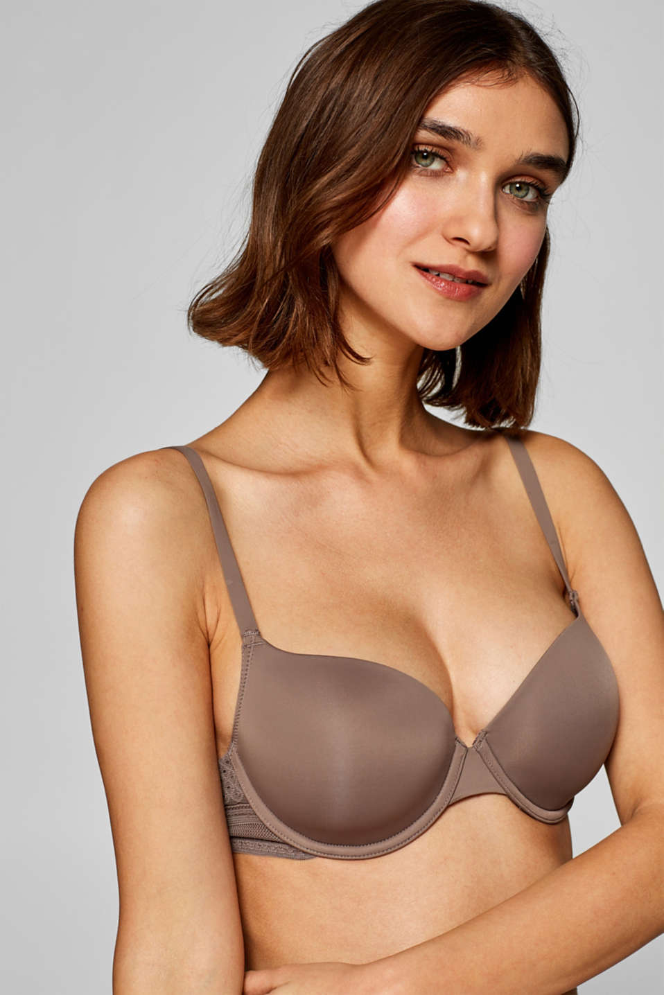 NYE padded underwire bra with lace details, TAUPE, detail image number 2