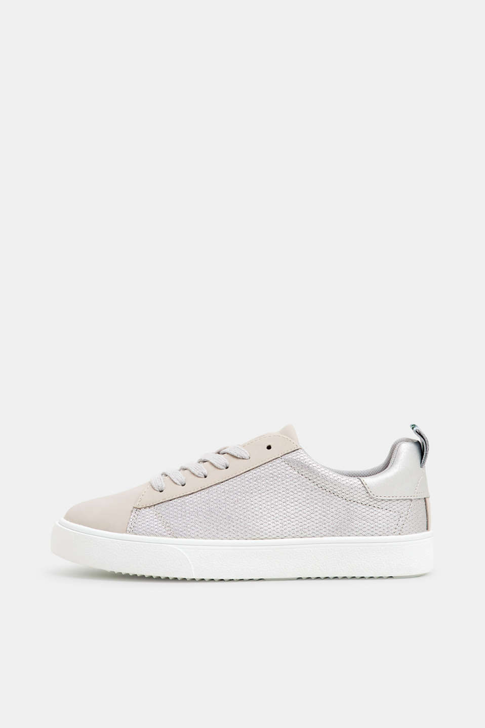 Esprit - Lace-up trainers with glittering trims
