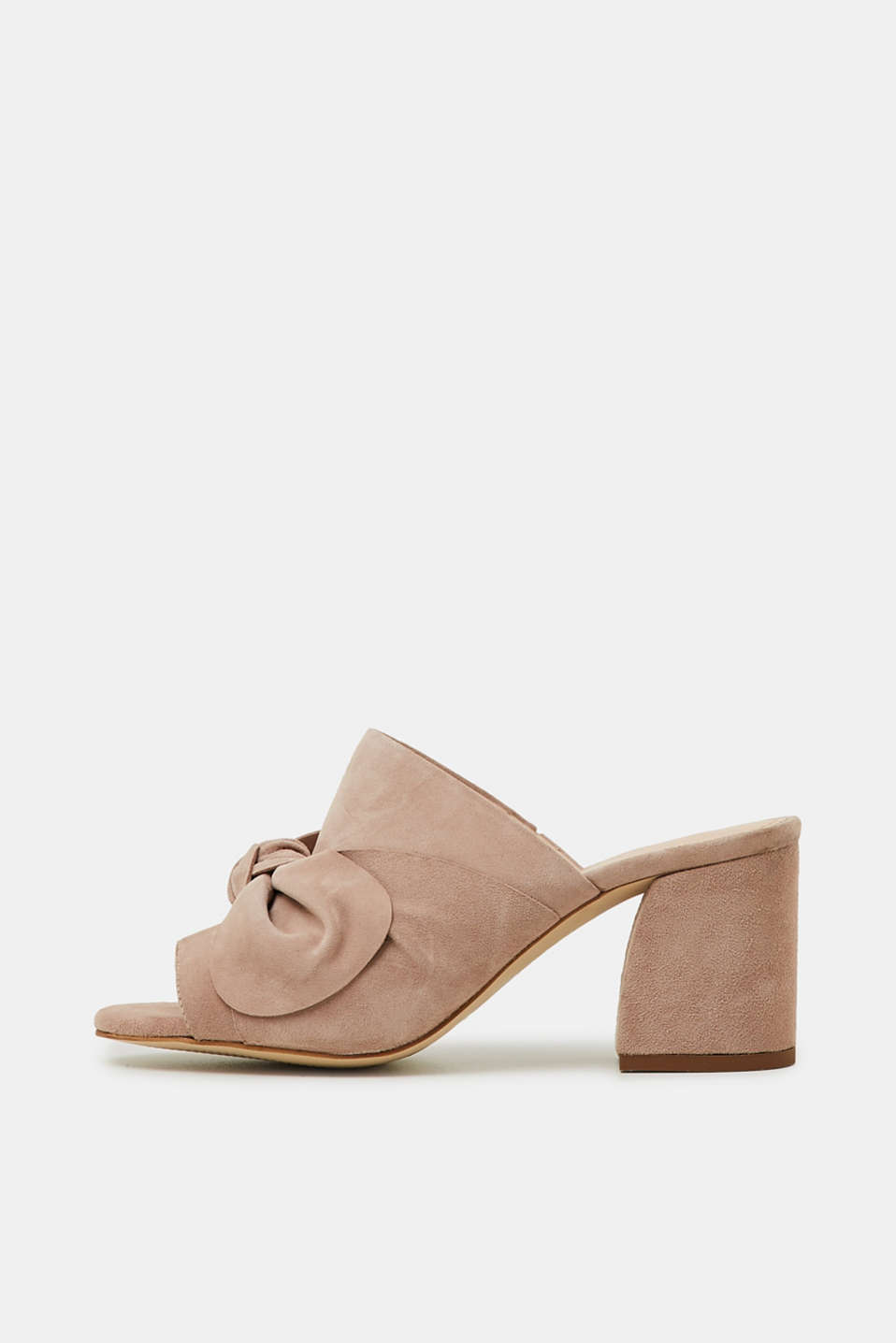 Esprit - Leather mules with a bow