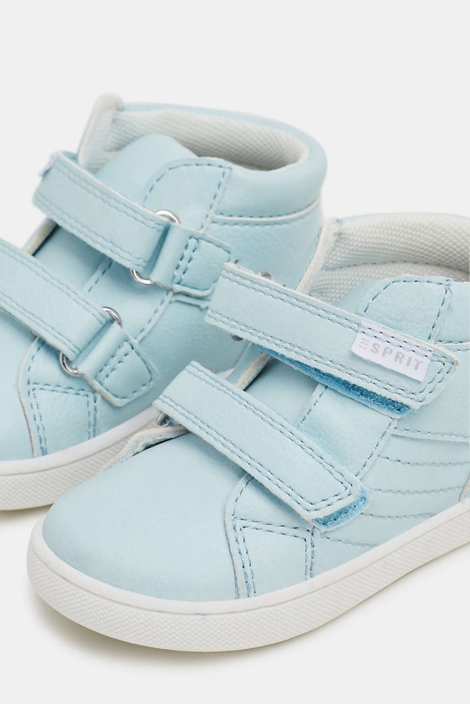 Faux leather high-top trainers, PASTEL BLUE, detail image number 2