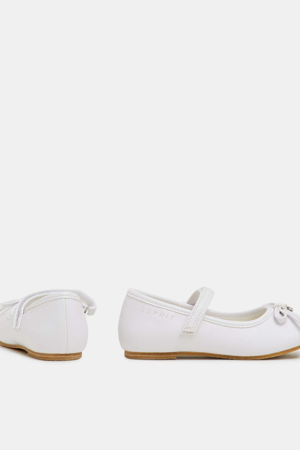 Faux leather ballerinas, WHITE, detail image number 4