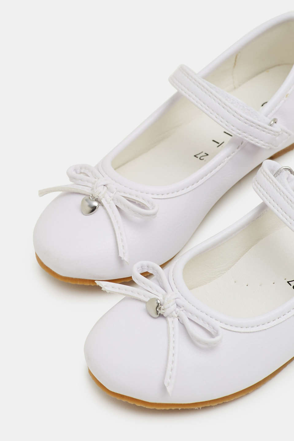 Faux leather ballerinas, WHITE, detail image number 3