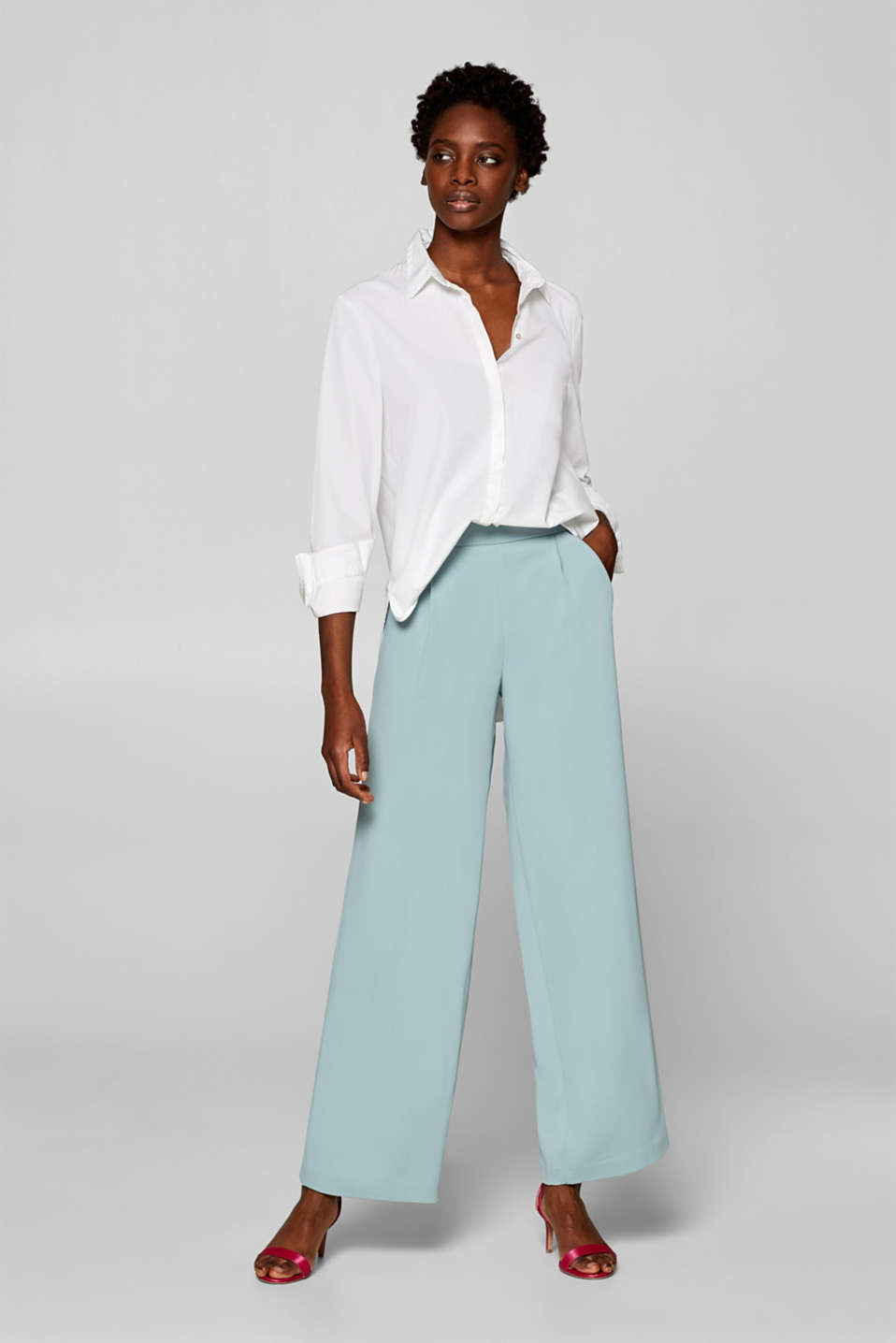 Esprit - Textured wide leg trousers