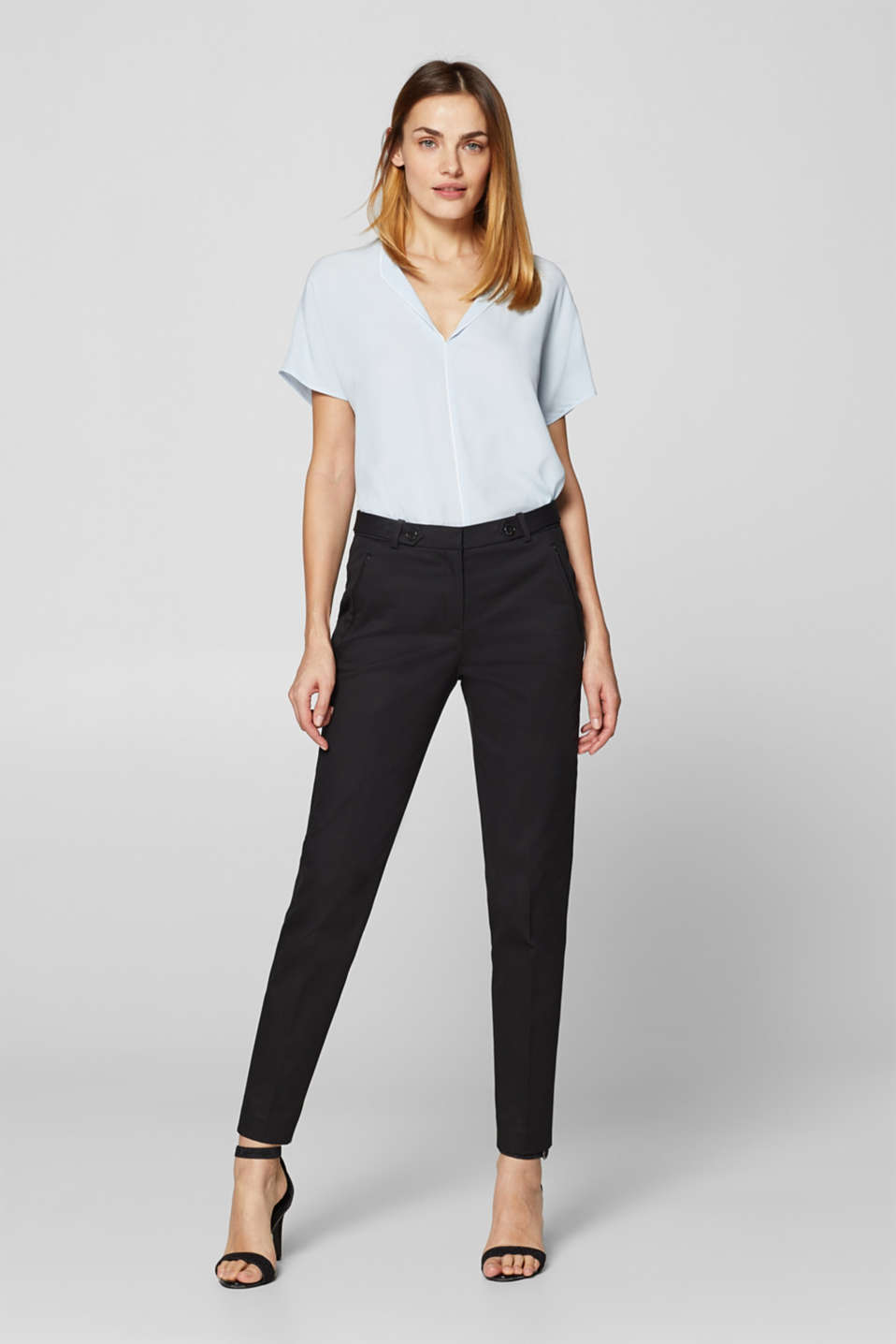 Esprit - Compact stretch trousers with waistband straps