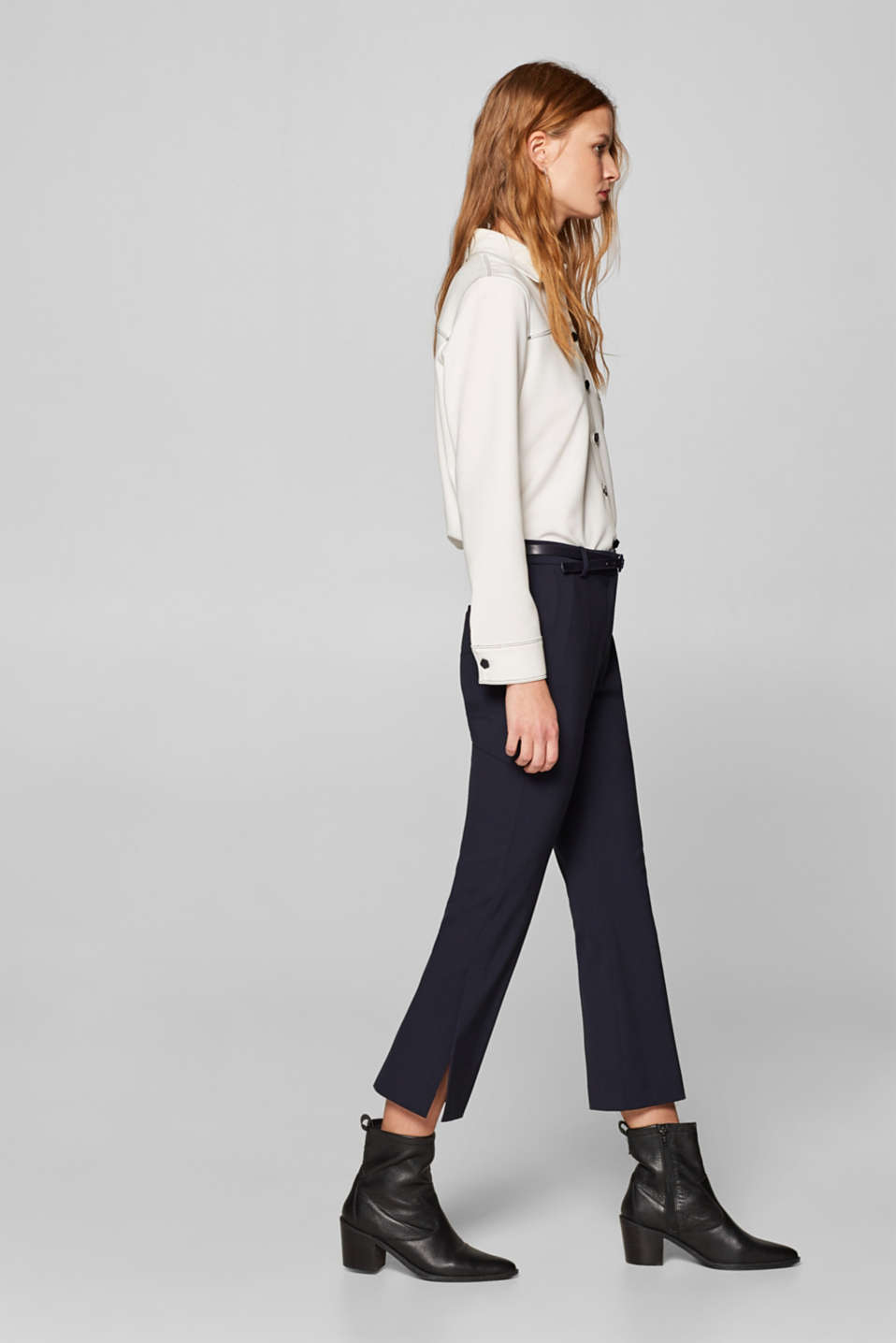 Esprit - Cropped stretch trousers with hem slits