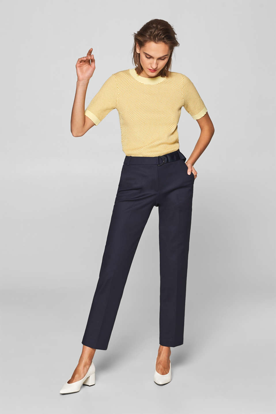 Esprit - Stretch trousers with a fixed grosgrain ribbon belt