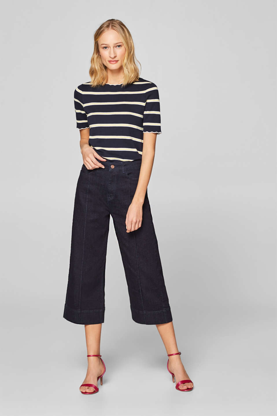 Culottes made of stretch denim containing organic cotton