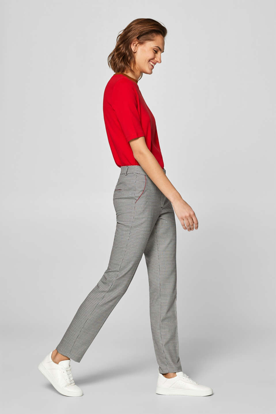 Esprit - Stretch-Pants mit Mini-Karo