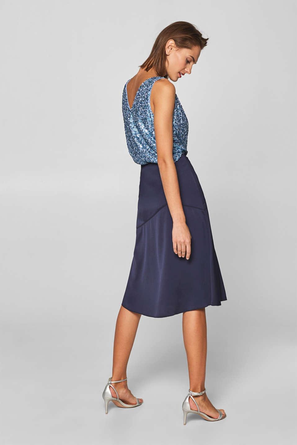 Flared crêpe satin skirt, NAVY, detail image number 3