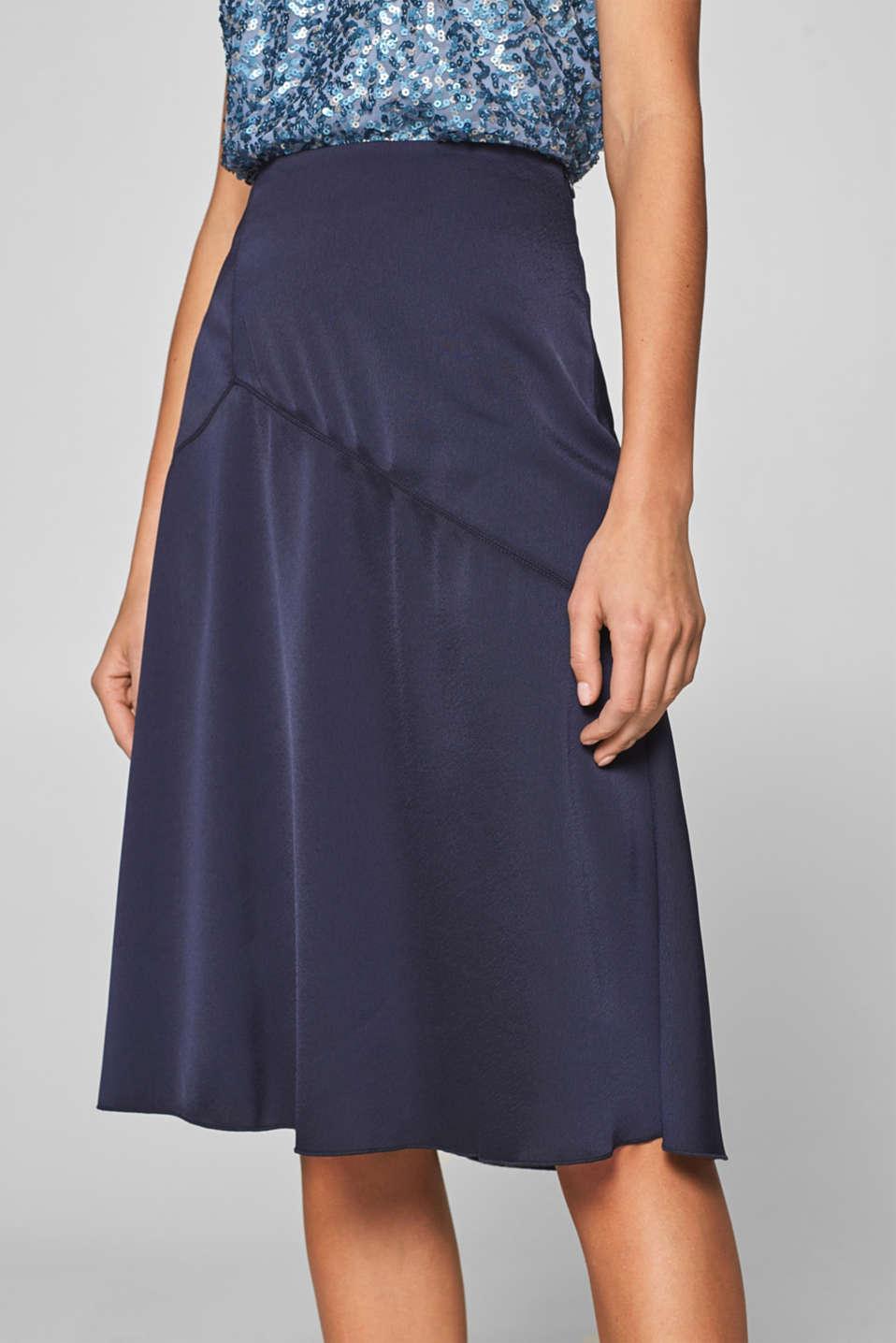 Flared crêpe satin skirt, NAVY, detail image number 2