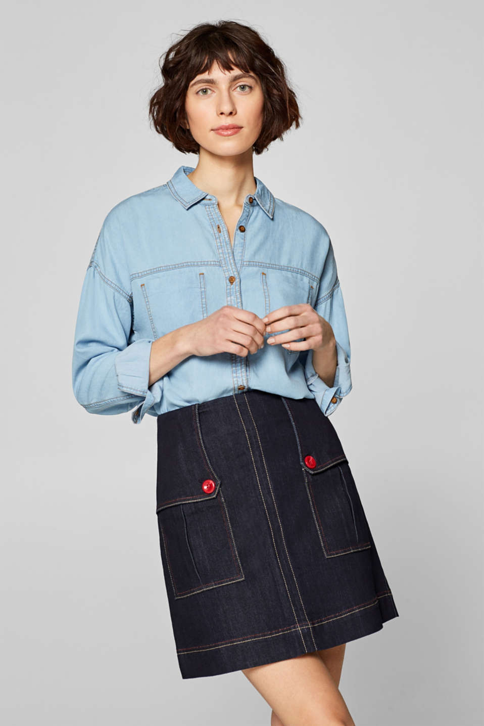 Esprit - Denim skirt with patch pockets