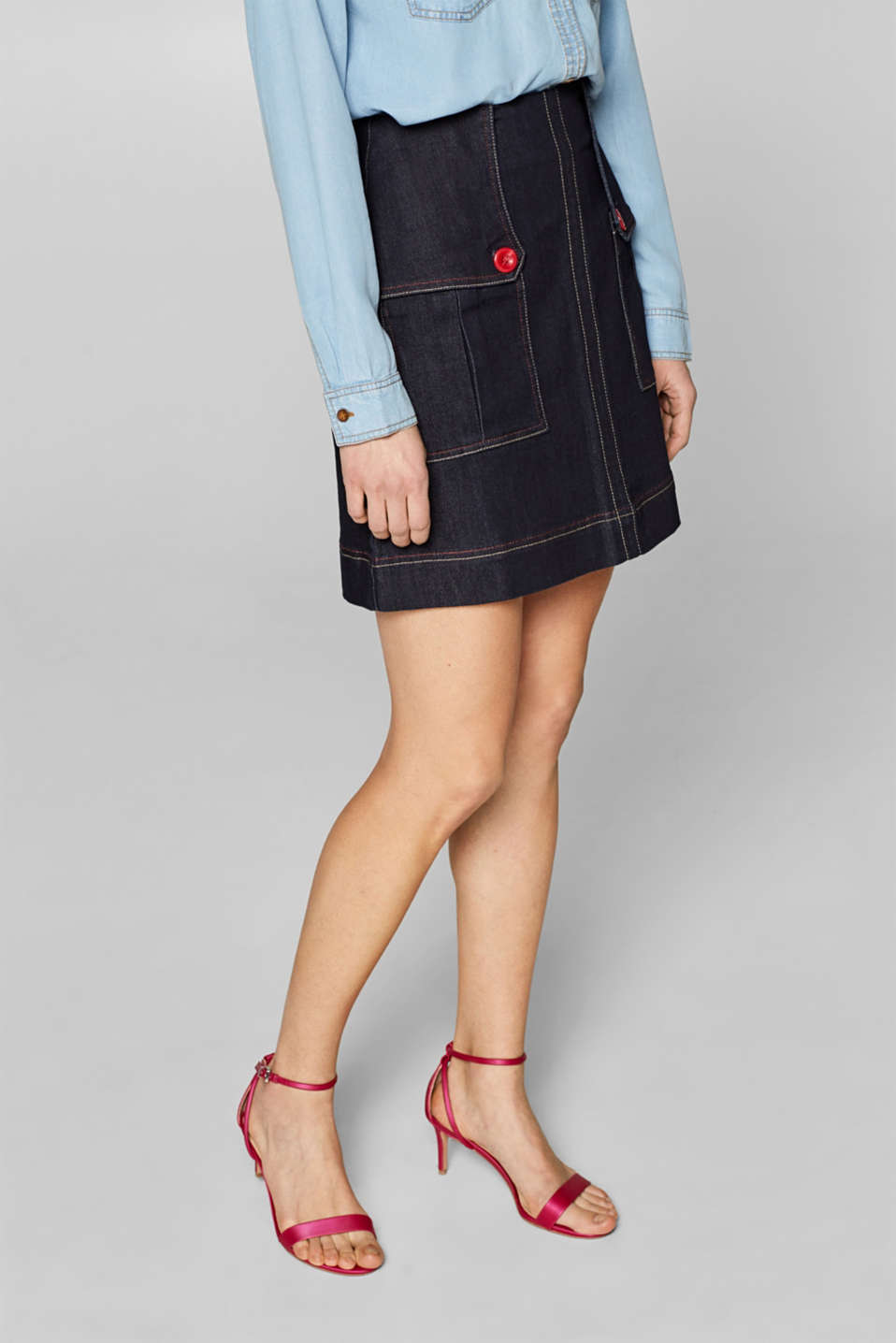 Skirts denim, BLUE DARK WASH, detail image number 6