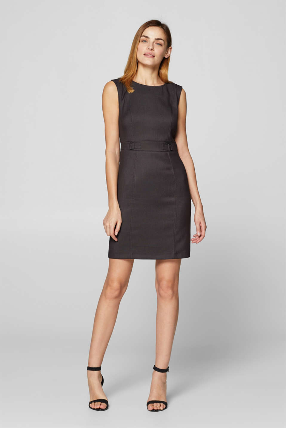 Esprit - Stretch shift dress with eye-catching side buckles