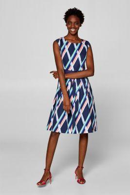 898cff2fdcc Esprit - Satinstretch-kjole med grafisk print i Esprits Online-Shop
