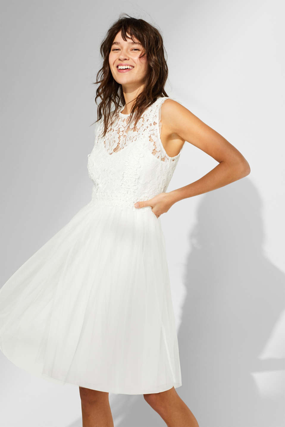 Esprit - Tulle midi dress with a lace top