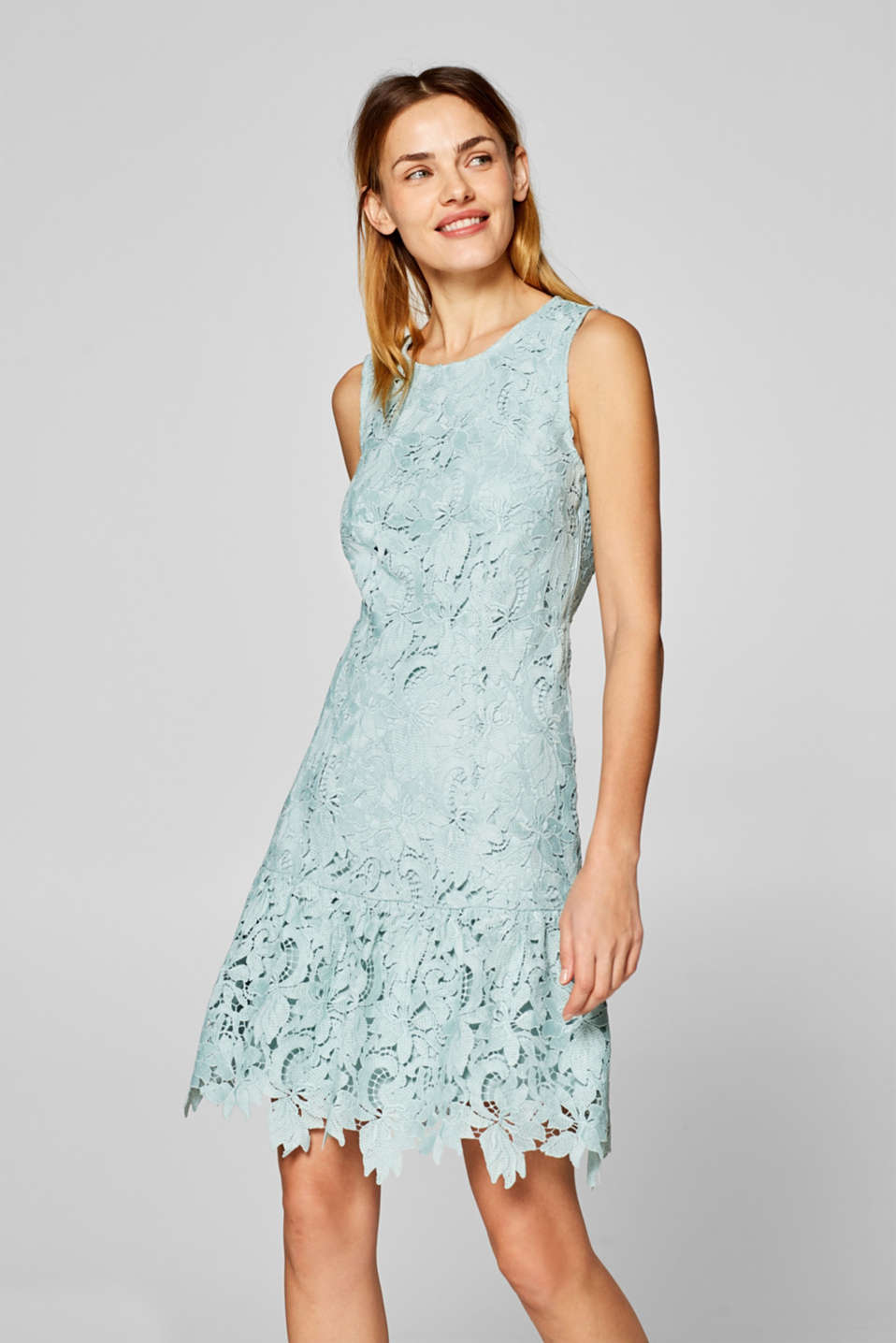 Esprit - Lace dress with a lush back neckline