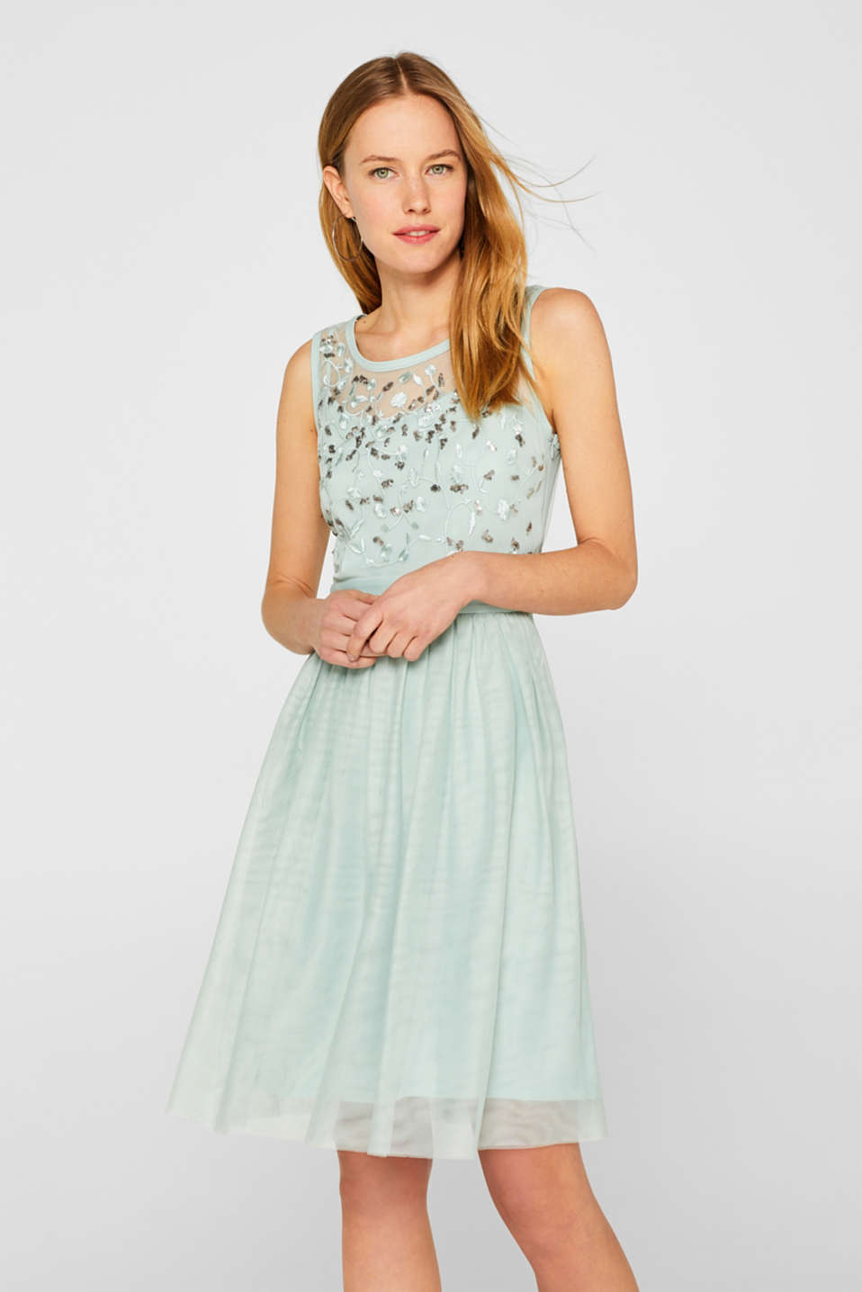 Esprit - Tulle dress with sequinned embroidery