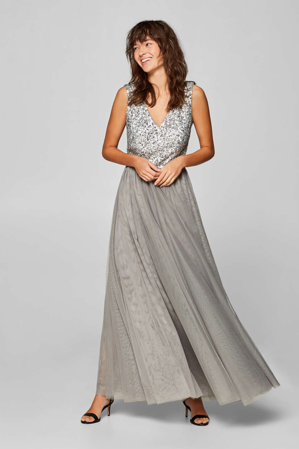 Esprit - Tulle maxi dress with a sequin top