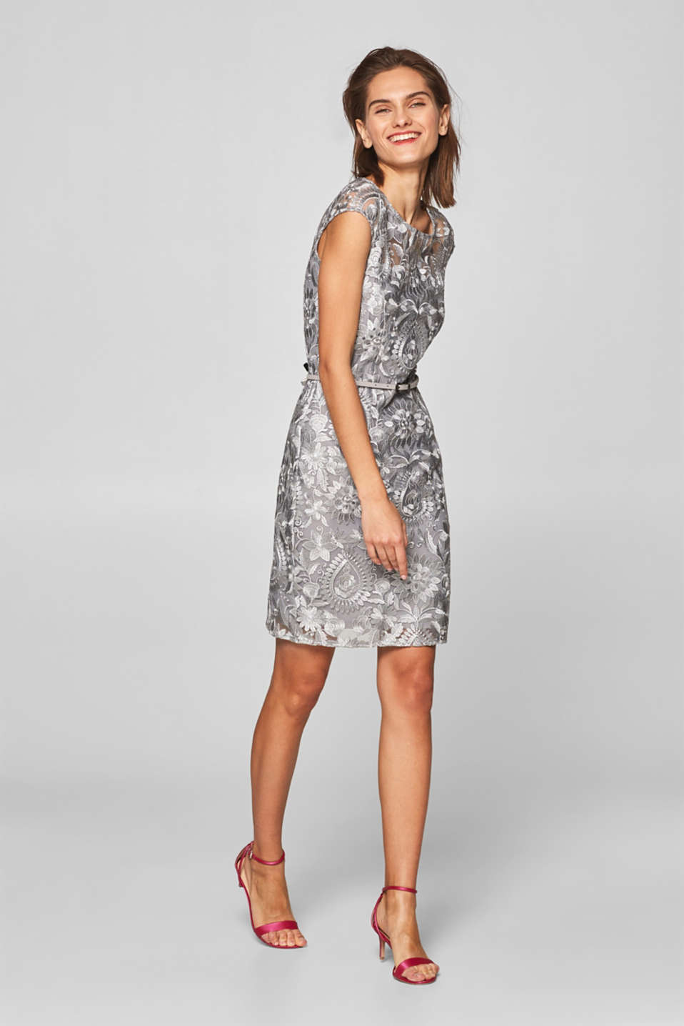 Esprit - Sheath dress with floral embroidery