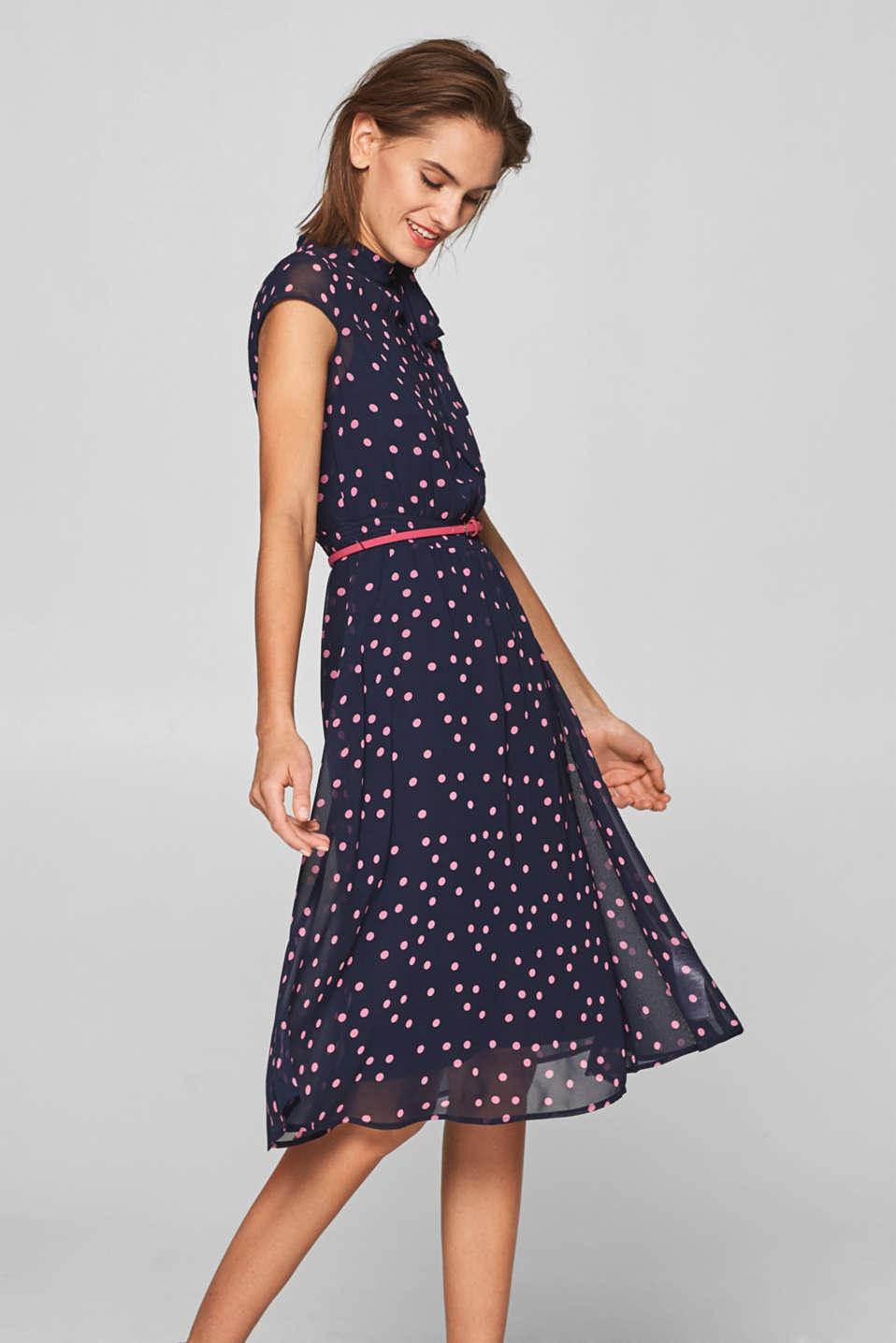 Esprit - Chiffon-Kleid mit Tupfen und Schleife im Online ...