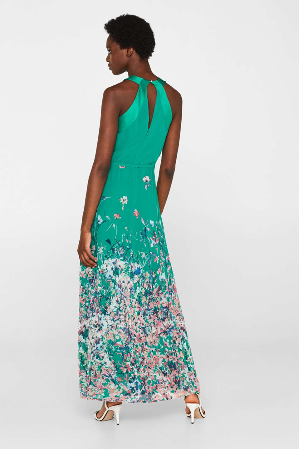 Maxi dress with satin details, GREEN, detail image number 2