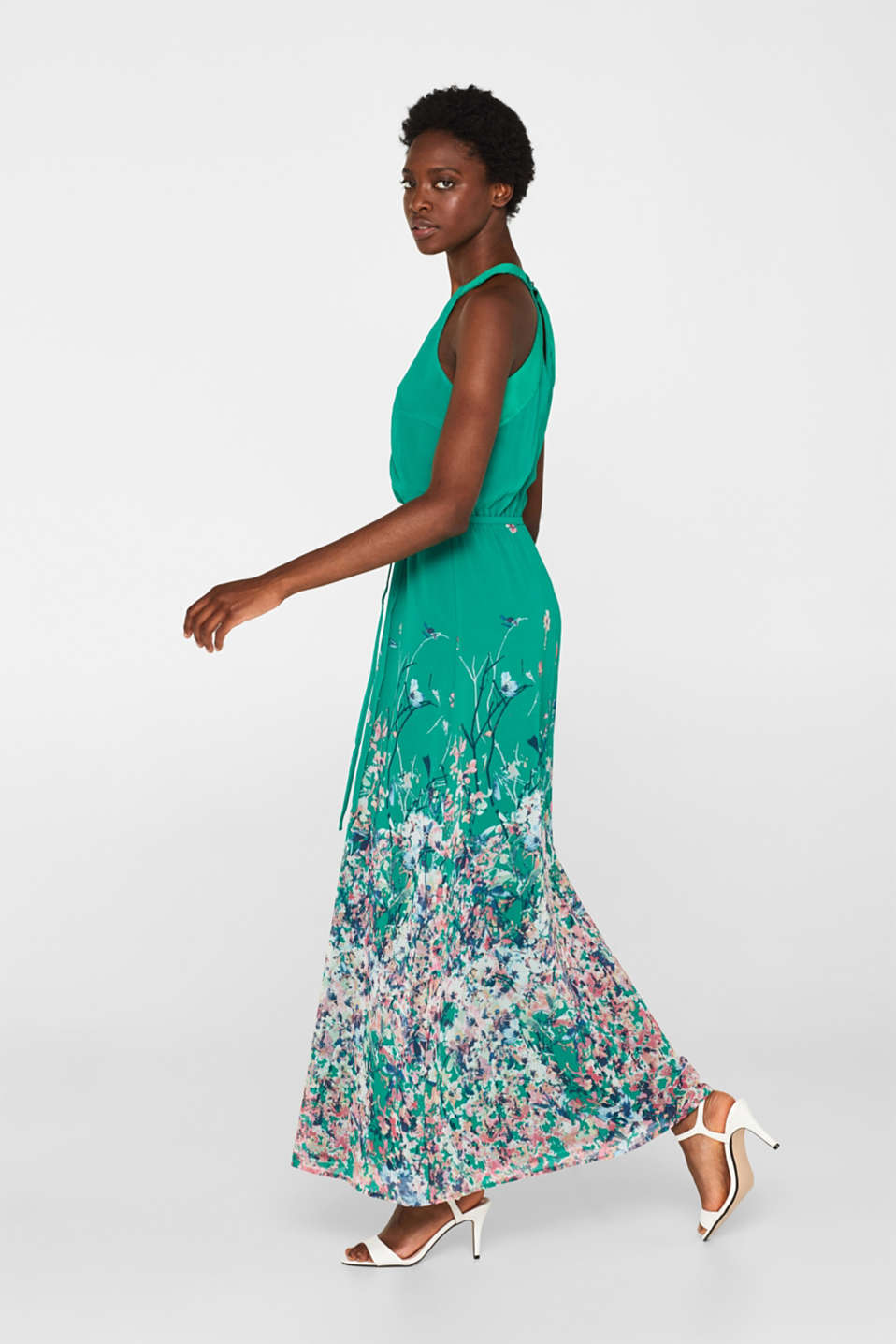 Maxi dress with satin details, GREEN, detail image number 1