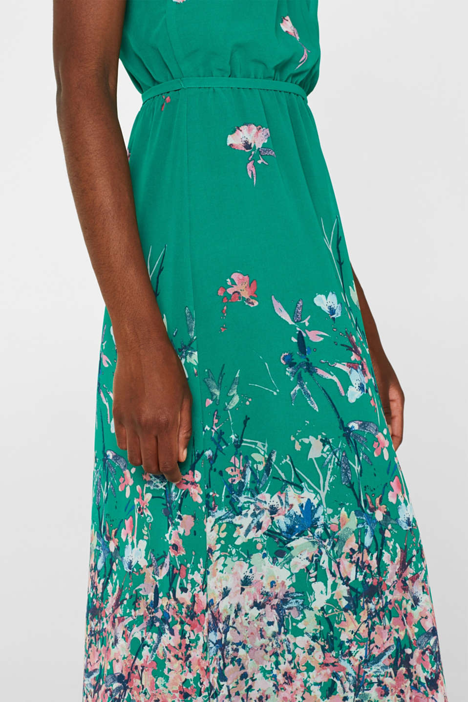 Maxi dress with satin details, GREEN, detail image number 3