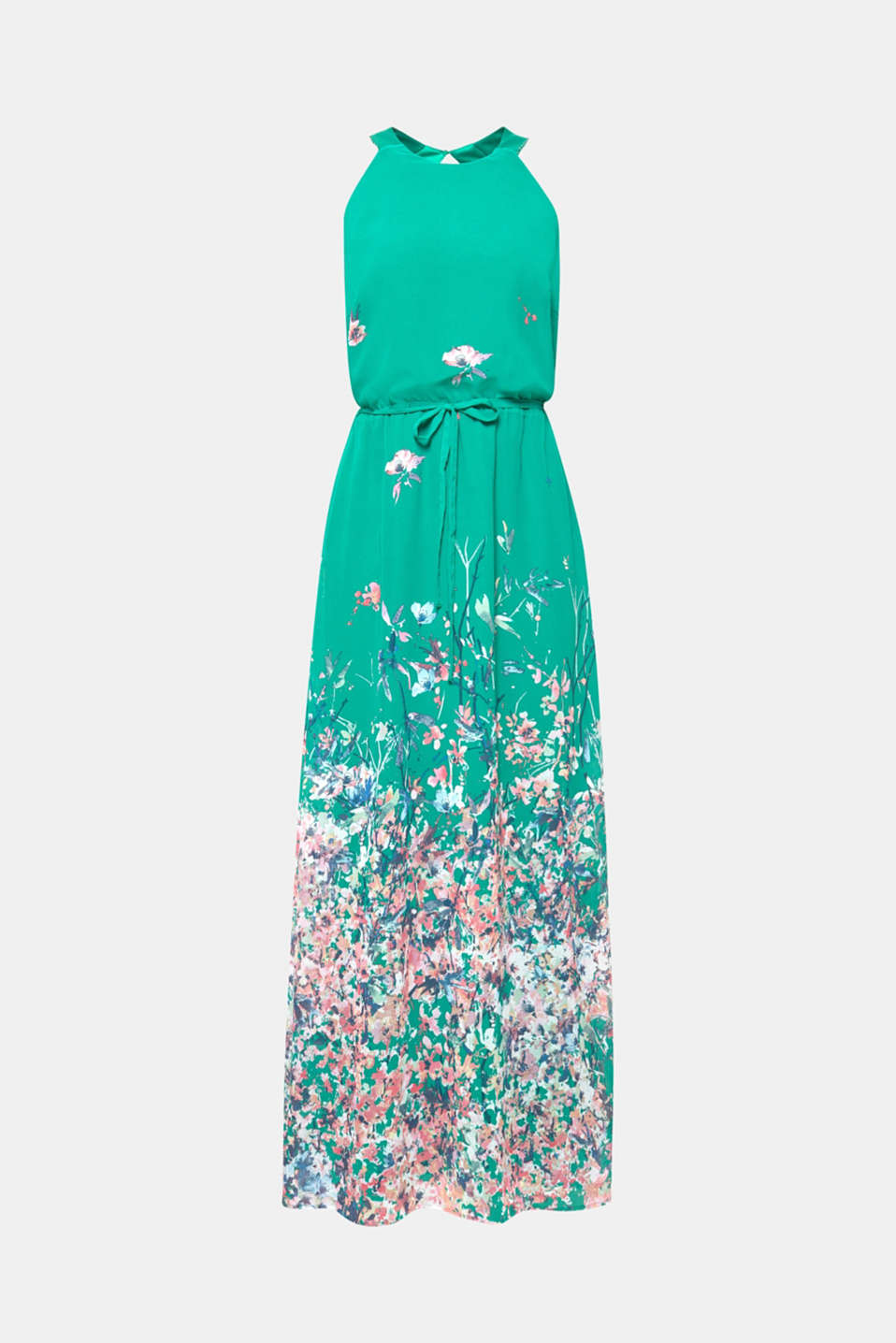 Maxi dress with satin details, GREEN, detail image number 6