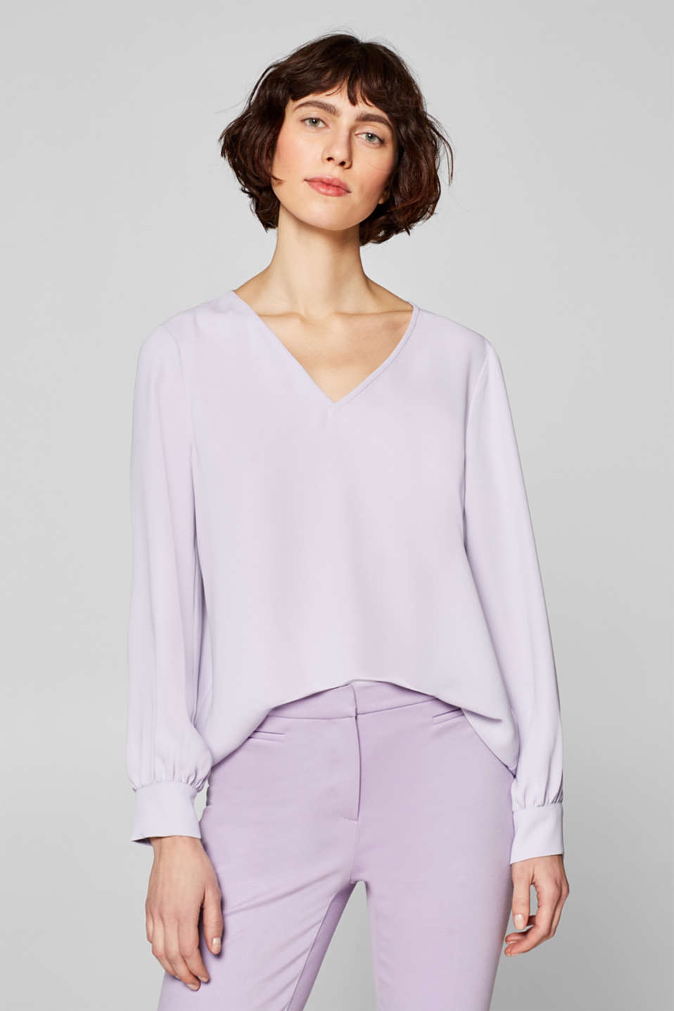 Esprit - Blouse with decorative balloon sleeves