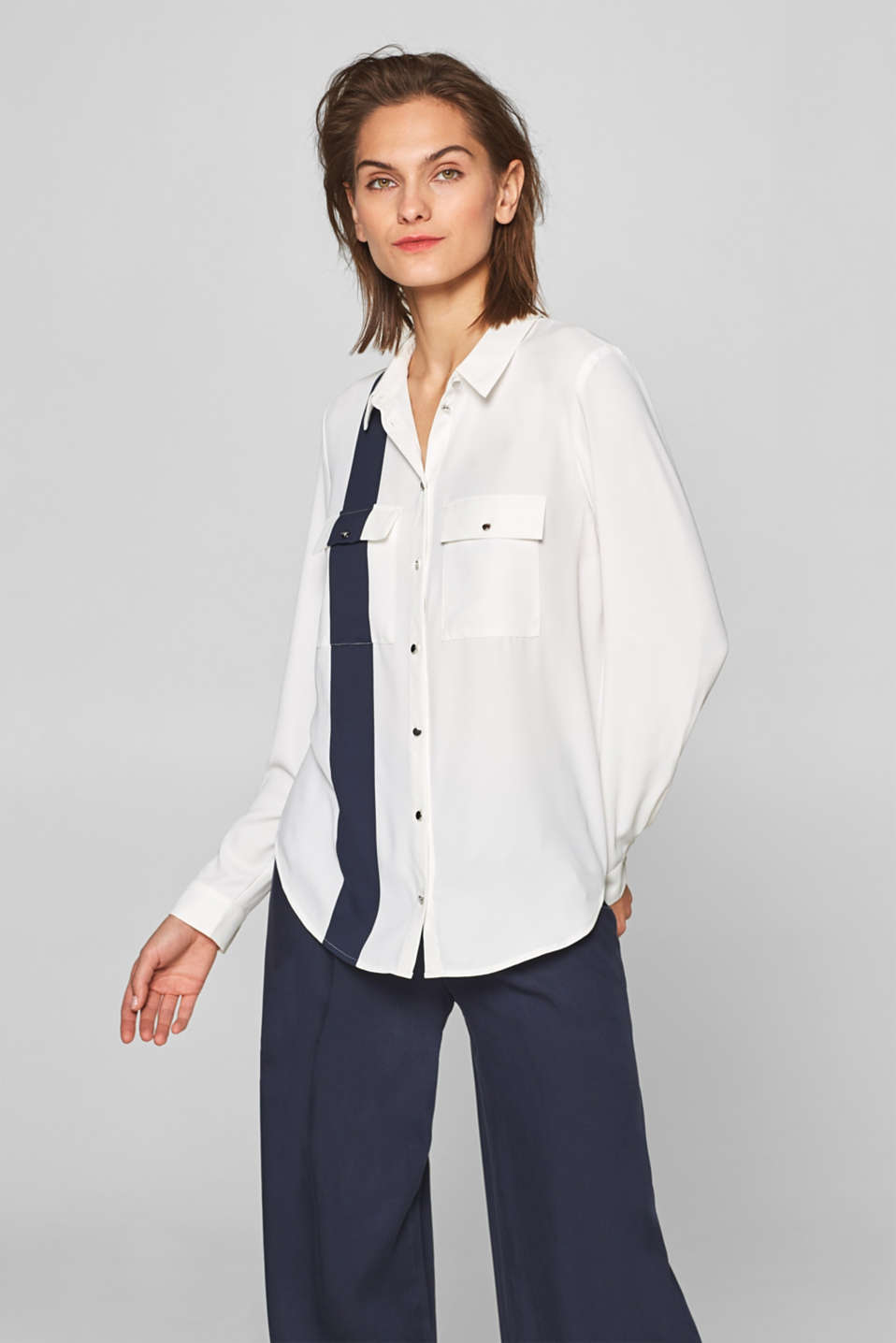 Esprit - Casual shirt blouse with contrast stripes