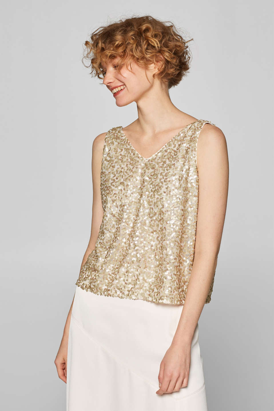 Esprit - Sequin top with a chiffon layer