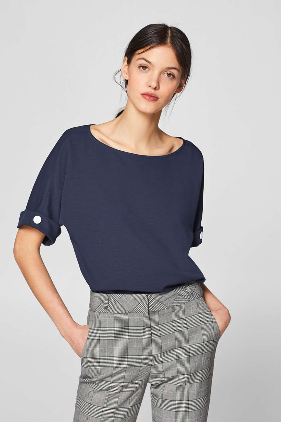 Esprit - Textured blouse with contrasting buttons
