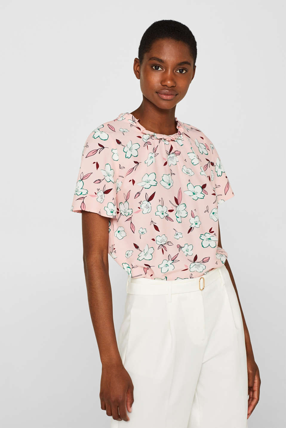 Esprit - Print blouse with a frilled band collar