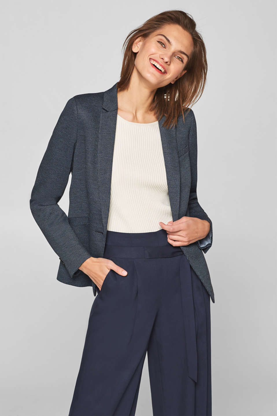 Esprit - Stretch blazer with a two-tone texture