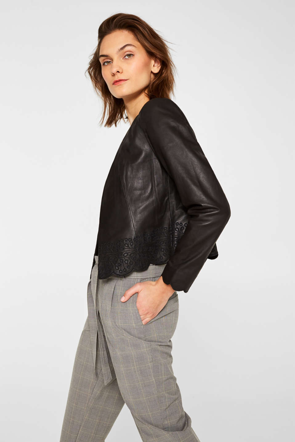 Esprit - 100% leather: jacket with tonal embroidery