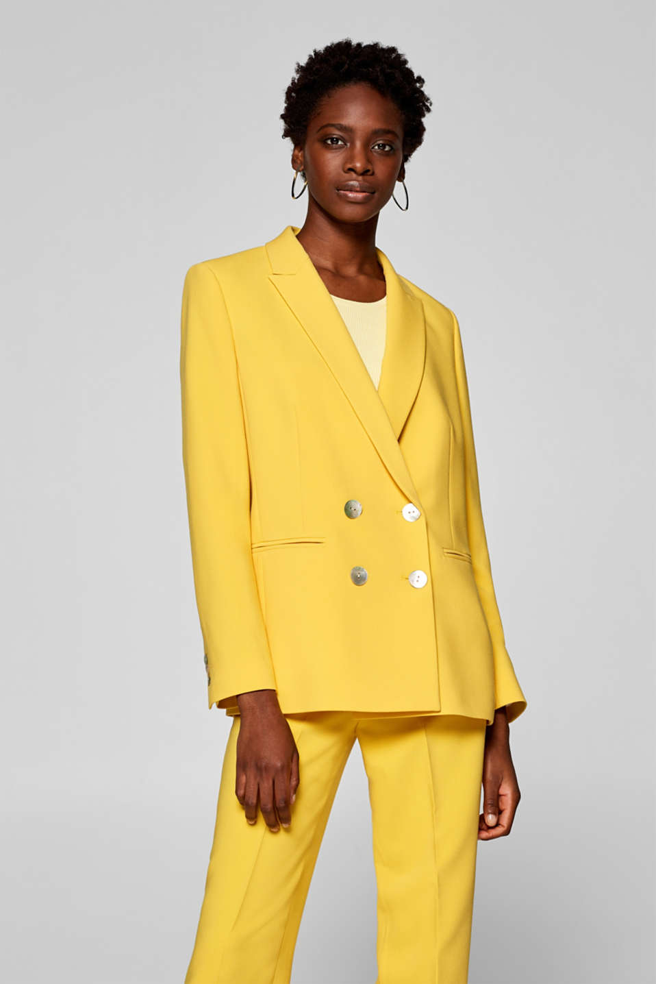 Esprit - COLOR Mix + Match double-breasted stretch blazer